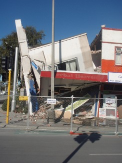 Damage to shop front Christchurch, February 2011. Image Robyn Moore