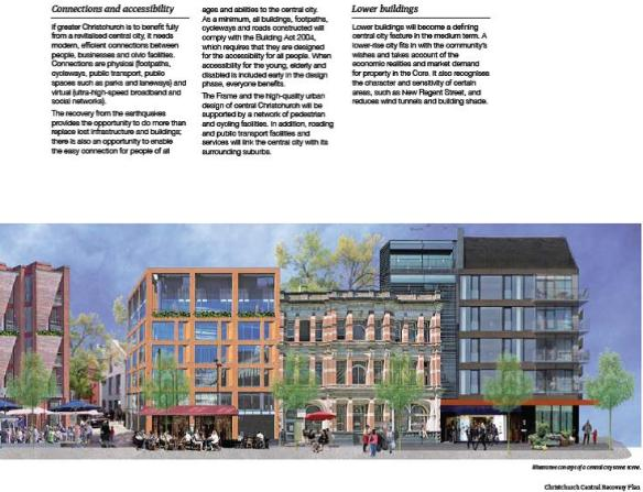 Christchurch Central Recovery Plan - lower buildings will become a defining feature of the central city